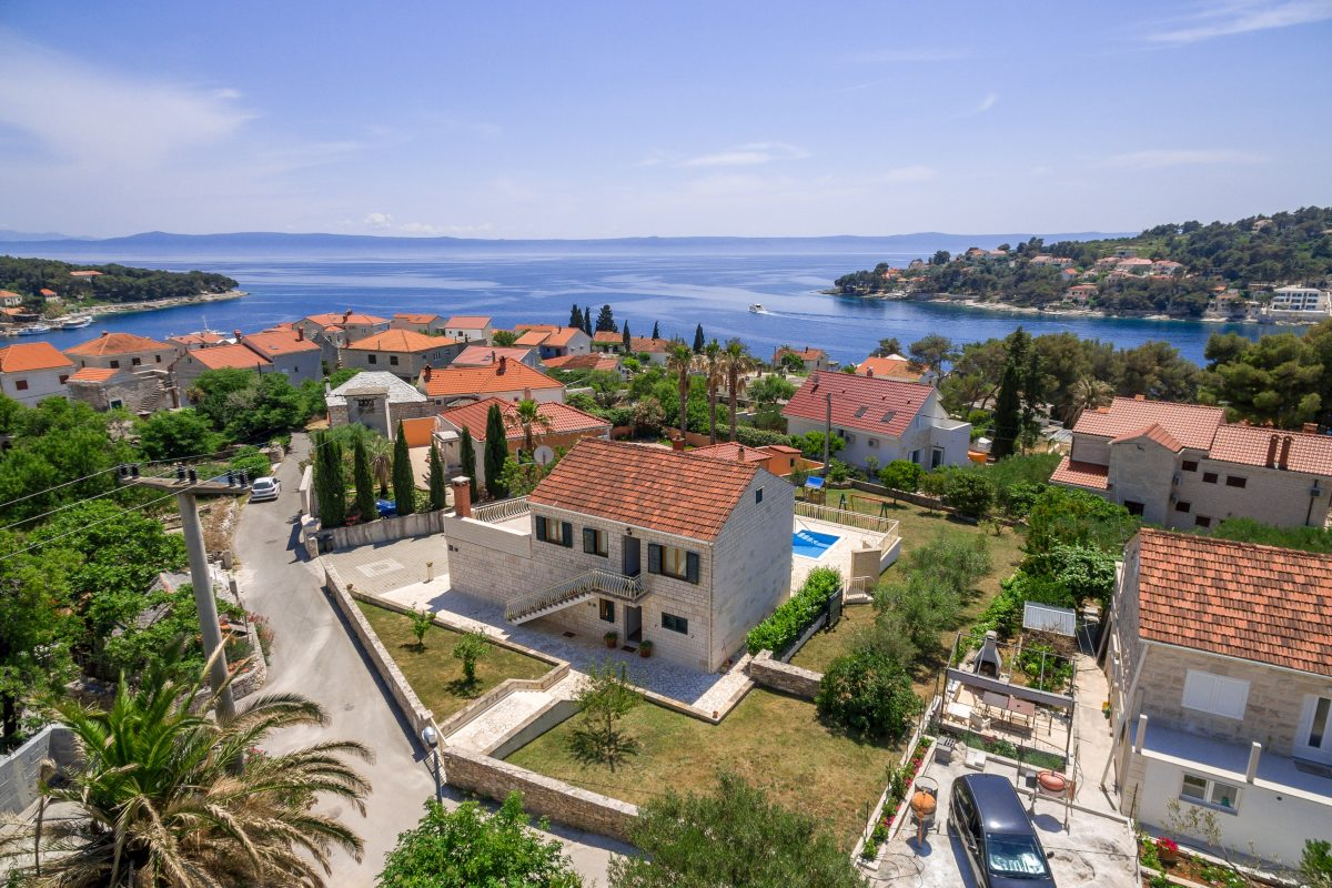 Drone view of the Villa Vjeka and stunning Adriatic sea